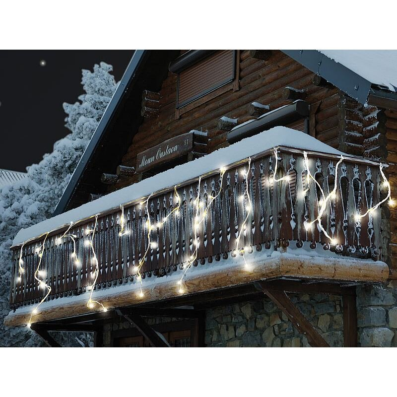 lunartec led lichterketten vorhang snow warmwei 29 90. Black Bedroom Furniture Sets. Home Design Ideas